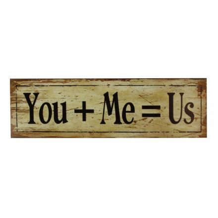 Rustic Wooden Wall Plaque ~ You & Me = Us